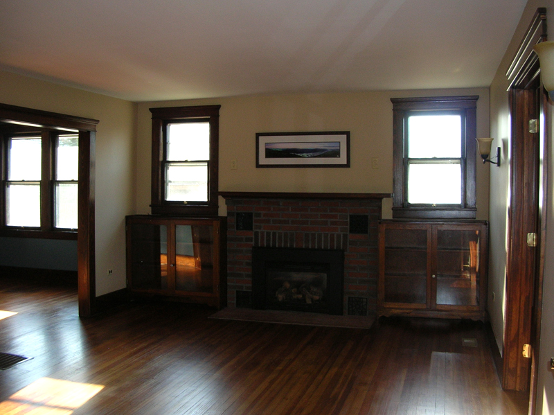 Living room with fireplace and bookcases
