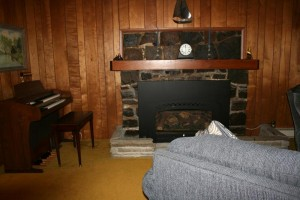 Fireplace and organ in living room