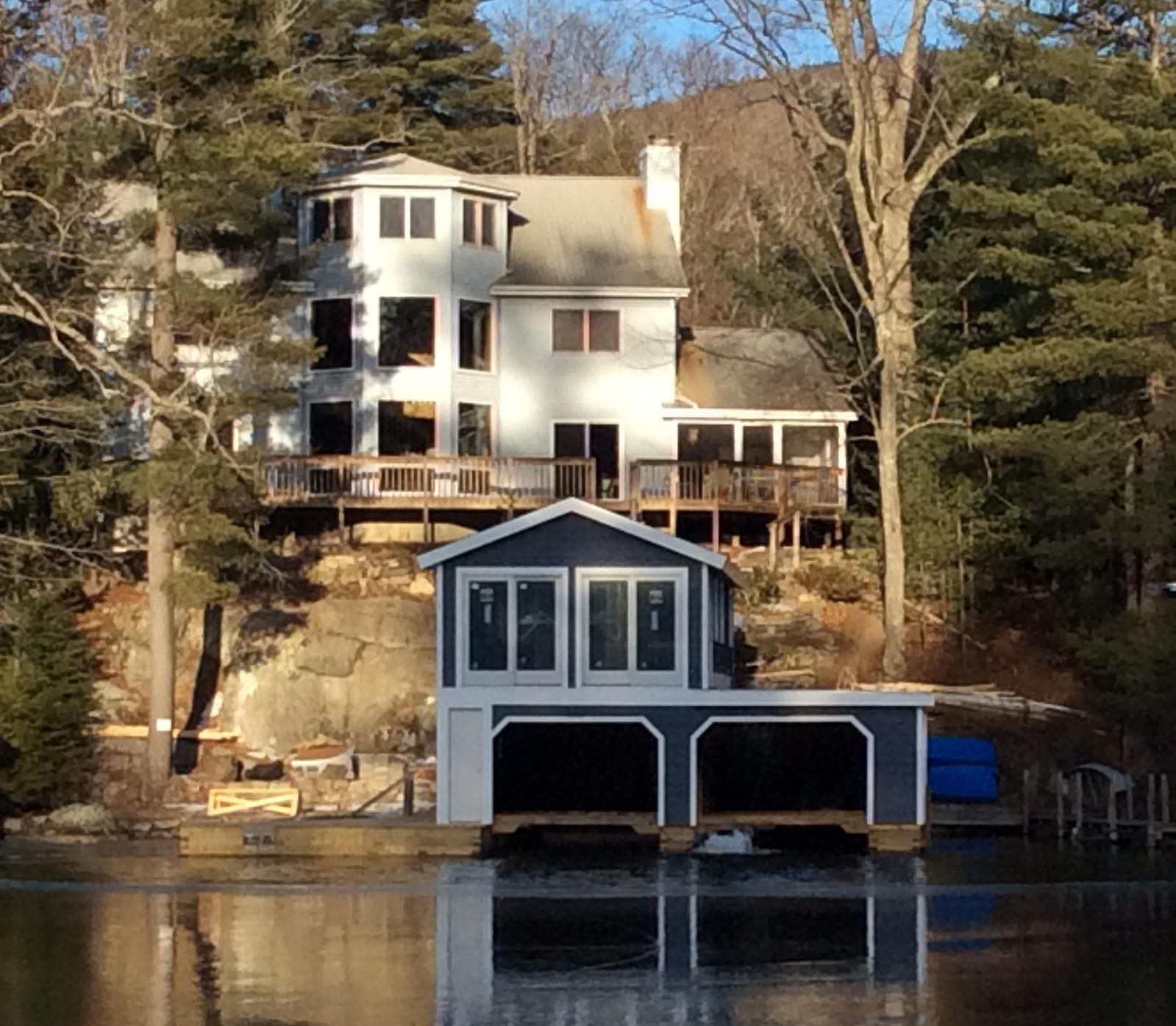 close up on house across bay