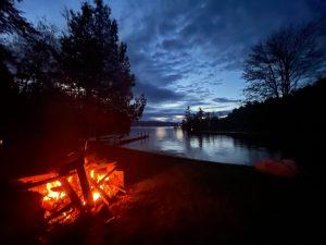 campfire on the shoreline